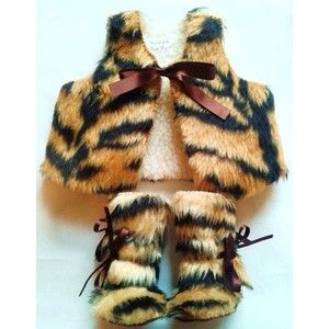 Baby Photo Prop Tiger Fur Baby Set Vest Fur Waistcoat and Fur Baby Boots Winter Mukluks Baby Clothes Toddler Boots Baby Bootees Booty Shoe