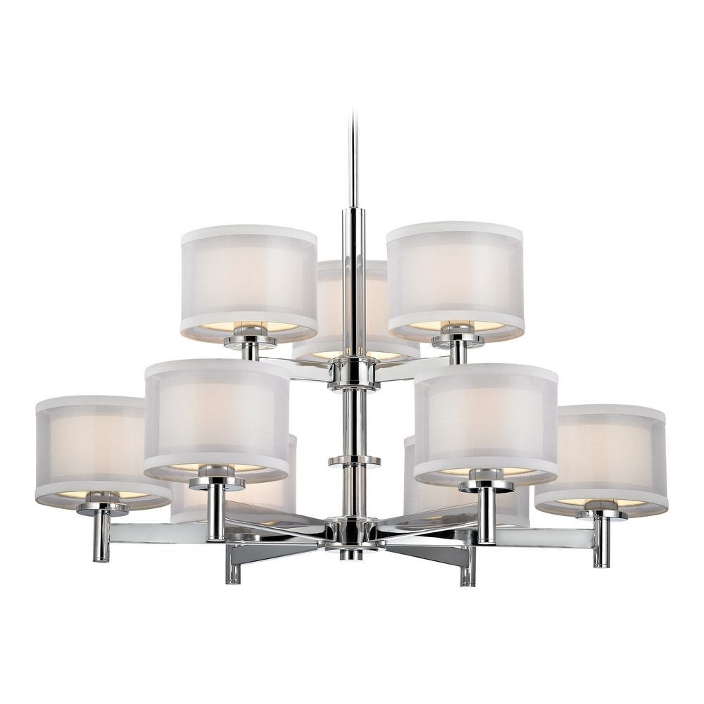 Modern Chandelier with White Shades in Chrome Finish | Chrome finish