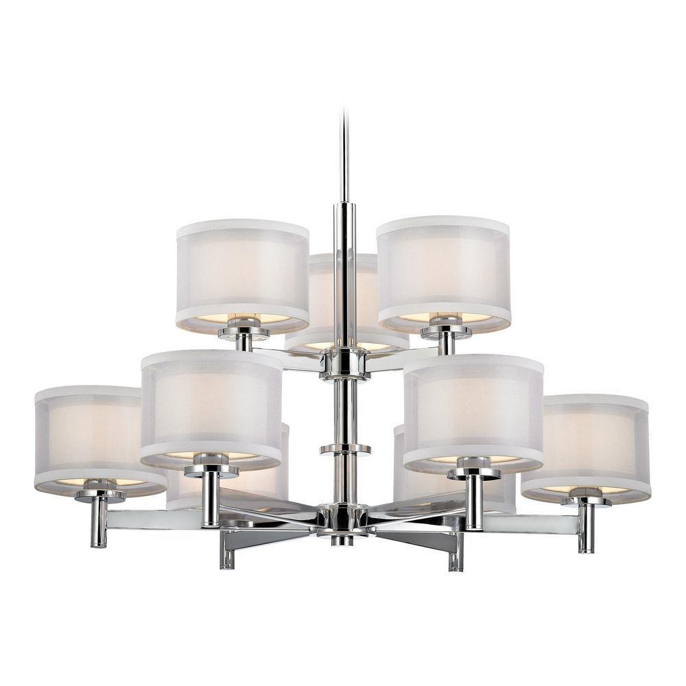Double organza chrome chandelier 2 tier 9 lt chrome finish chrome double organza chrome chandelier 2 tier 9 lt at destination lighting arubaitofo Image collections