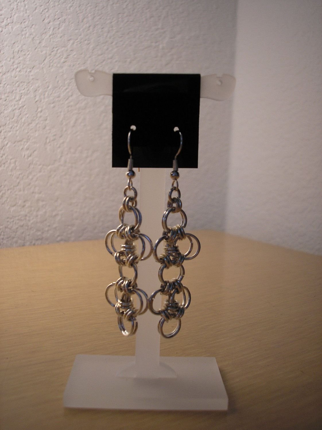 Chainmaille earrings/pierced by CreationsbyMaryEllen on Etsy, $8.75