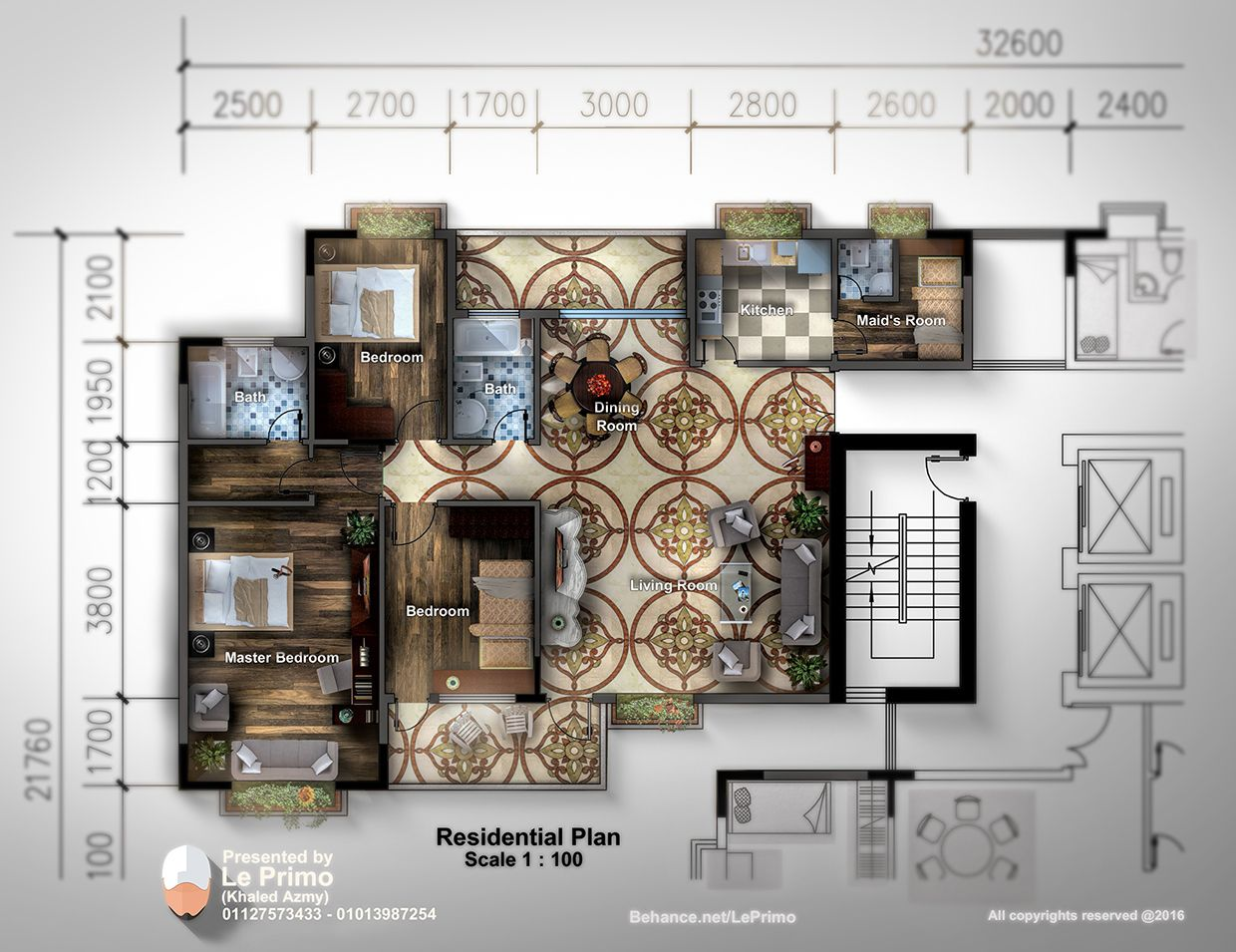 Rendering of Residential House  Plan  By Photoshop  Maids