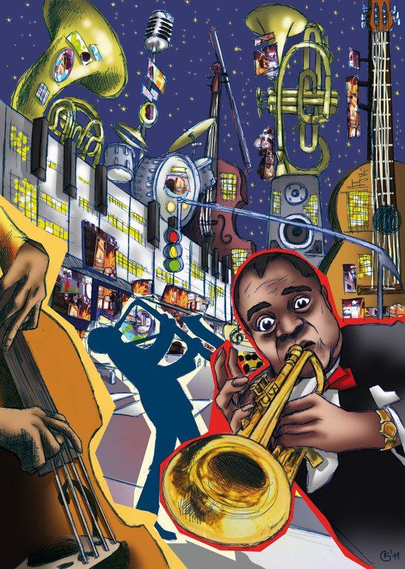 постер джазовый трубач коллекции основана четырех