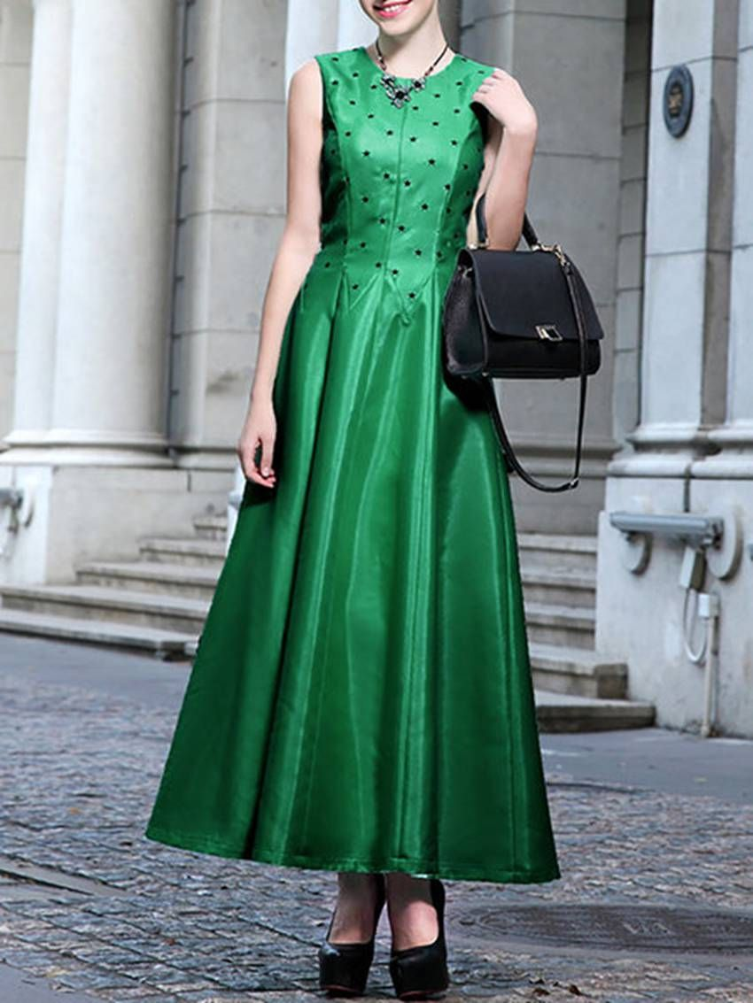 Shop green plain printed sleeveless polyester maxi dress online the