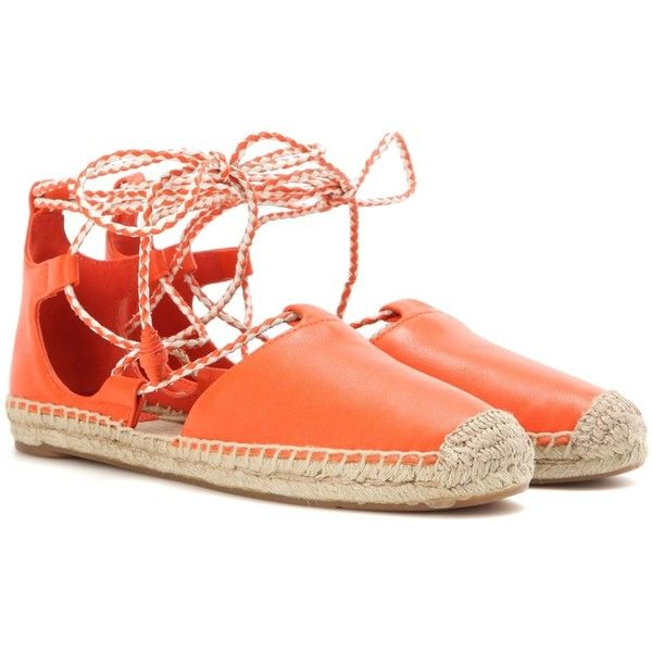 Tory Burch Positano Leather Lace-Up Espadrilles (€265) ❤ liked on Polyvore