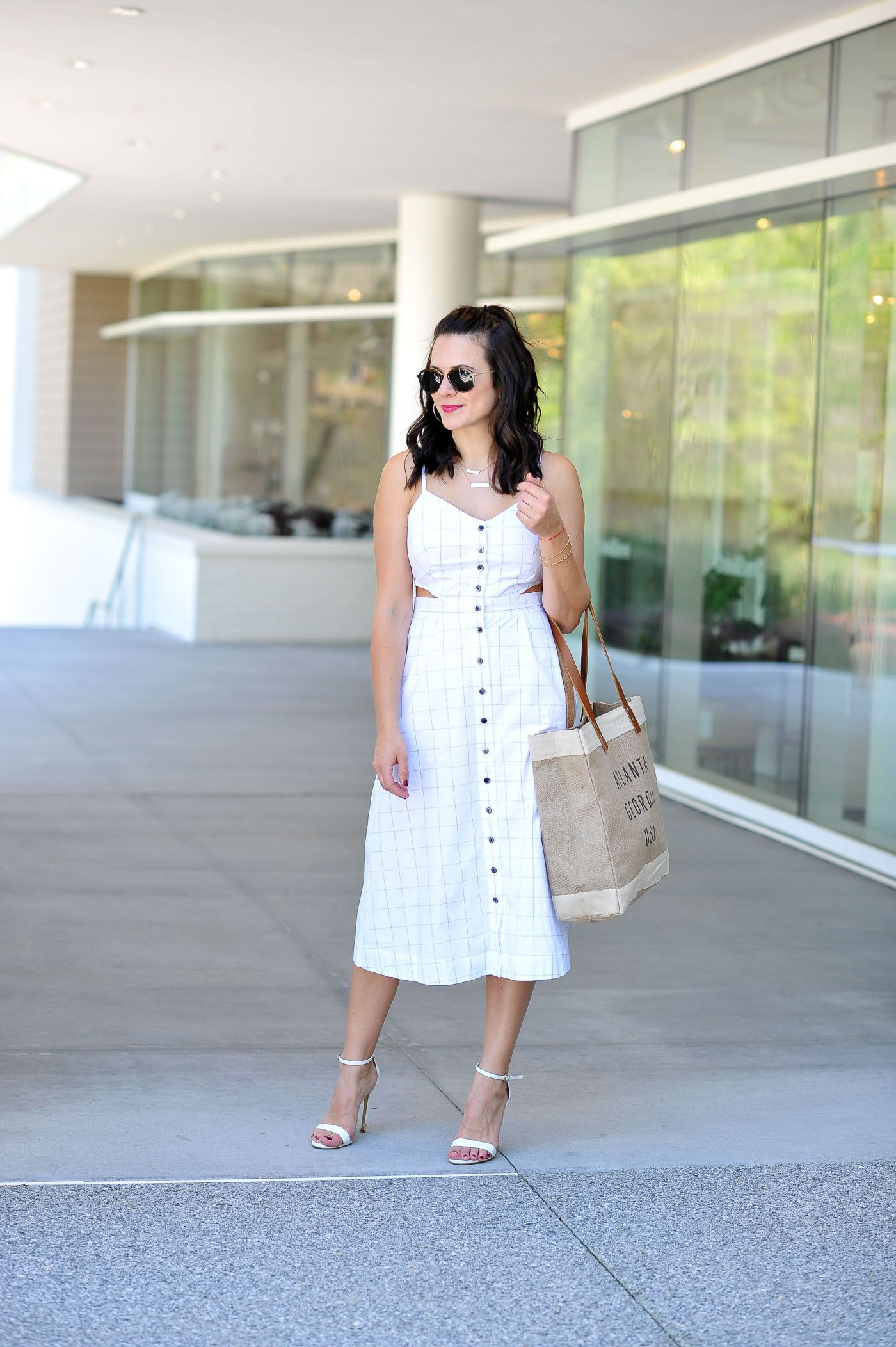 White Midi Dress | My Style Vita. White checked cut-outs midi dress+white ankle strap heeled sandals+brown fabric tote bag+gold necklace+sunglasses. Summer Casual Outfit 2017