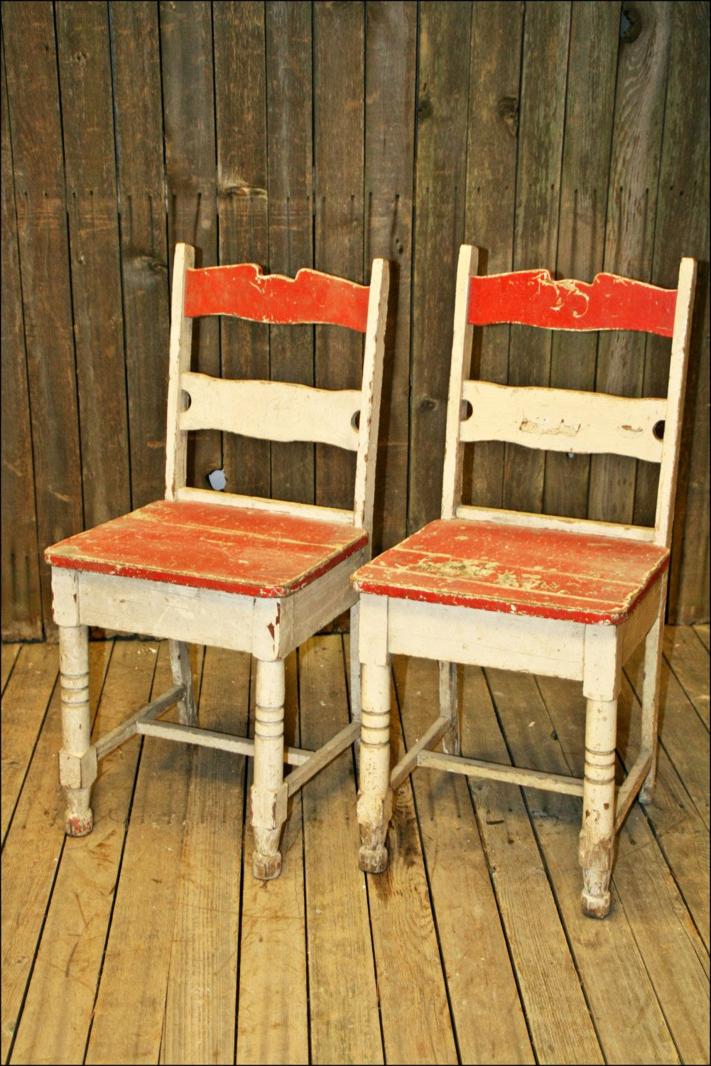 2 Vtg Chair Pair Chippy Paint Wood Mid Century Shabby French  # Muebles Vikings Cl