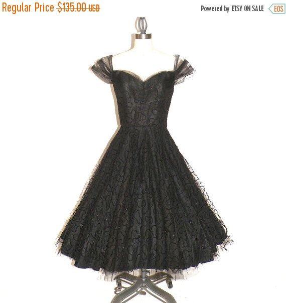 50s Dress, 1950s Prom Dress, Tulle Dress, 50s Party Dress, Cap ...