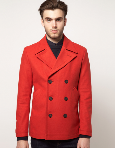 cc022670a18 Red Peacoat. Gotta love the look.
