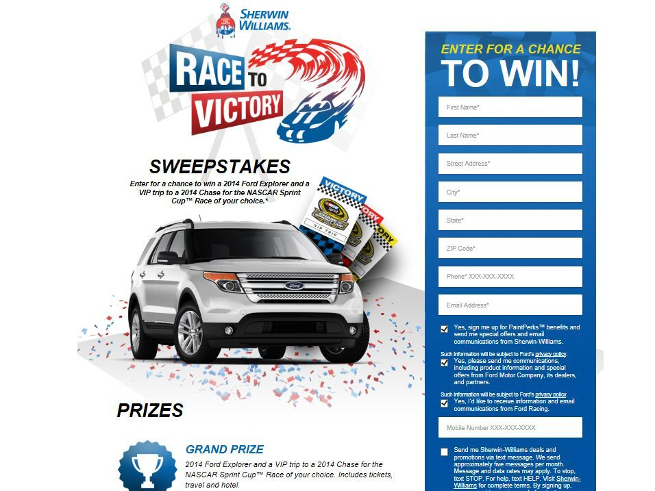 Sherwin Williams 2014 Race To Victory Sweepstakes Sweepstakes