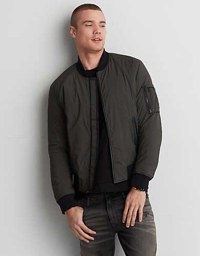 46957d186 AE Quilted Bomber Jacket | jacket pegs | Windbreaker jacket mens ...