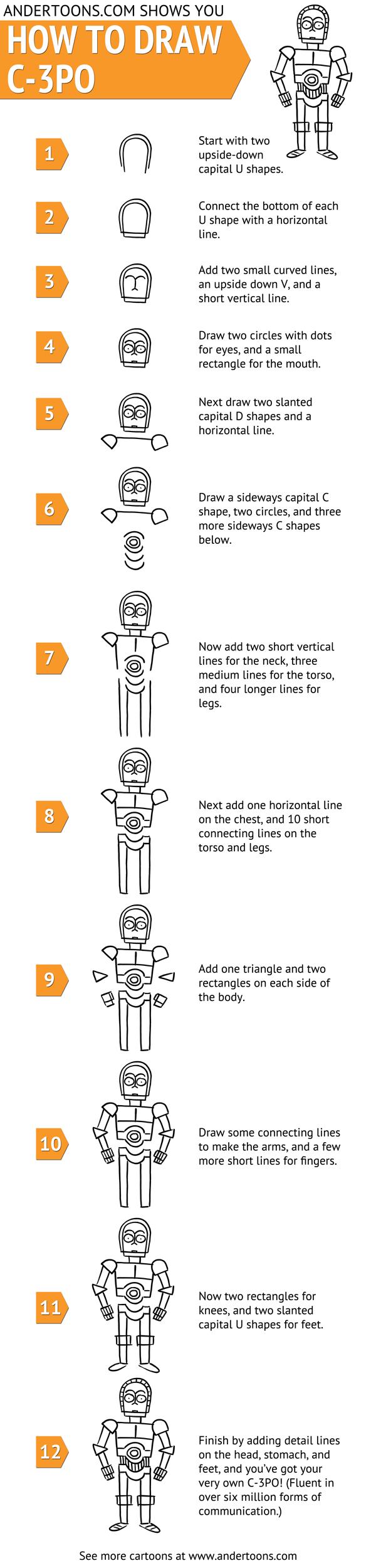 Comment Dessiner C 3po Dessins Star Wars Comment Dessiner