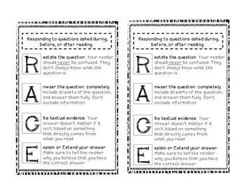 Reader's Notebook R.A.C.E: Responding to Reading Strategy ...