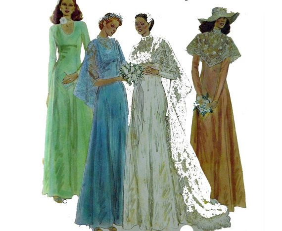 Vintage 70s Wedding Dress Pattern Bohemian Bridal Gown Bridesmaid ...