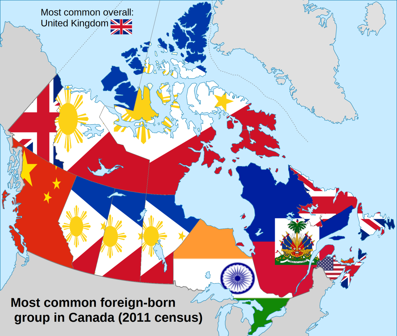 Most common foreignborn group in Canada by province