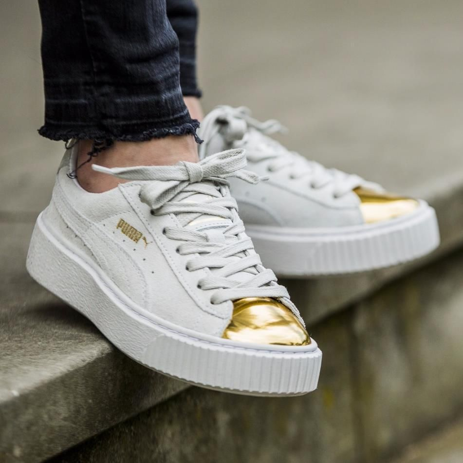 Puma suede creeper white gold fenty rihanna sneaker toe new