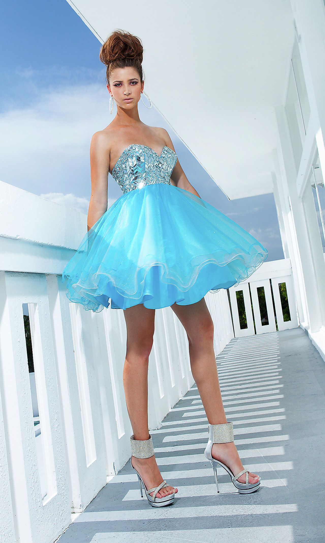 Cinderella would envy short strapless prom dress by tony bowls
