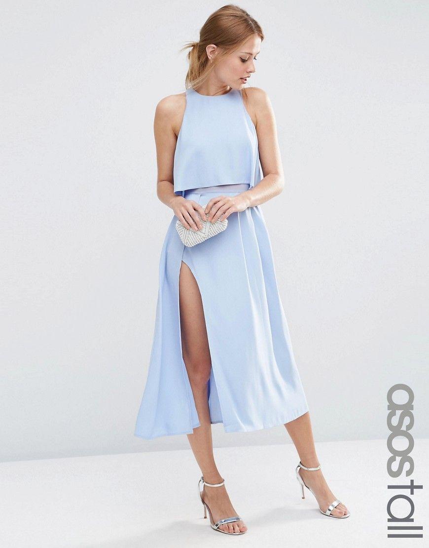 Tall Crop Top Wrap Split Midi Dress Midi Dresses Wraps And Clothes