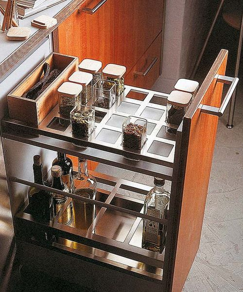 I love this idea to keep bottles and jars from sliding around falling out  of   Kitchen Drawer  I love this idea to keep bottles and jars from sliding around  . Kitchen Drawer Design Ideas. Home Design Ideas