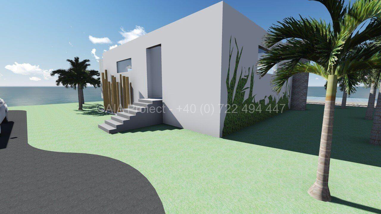 Proiect casa parter vacanta pentru un amplasament pe plaja sau pe lac