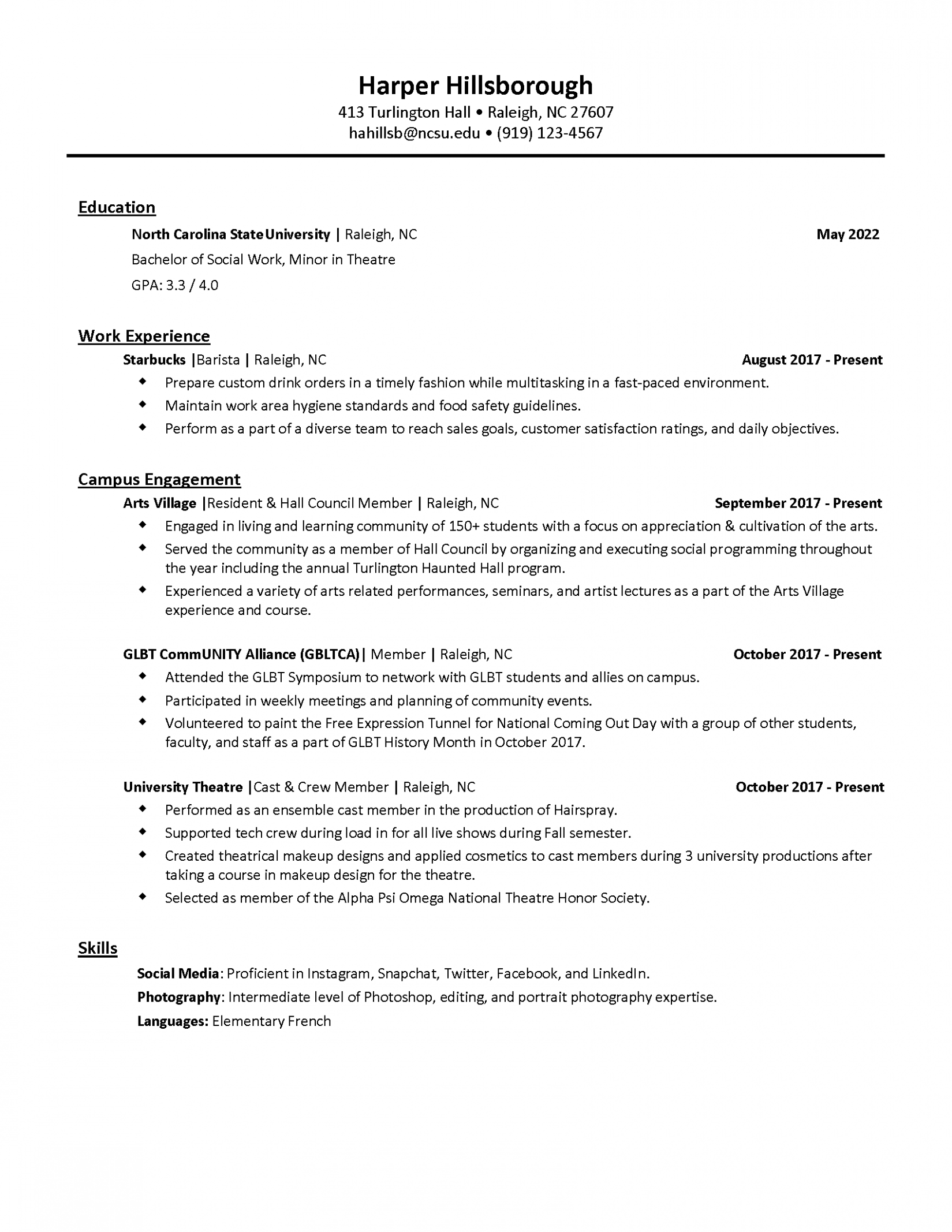 14 Student Affairs Resume