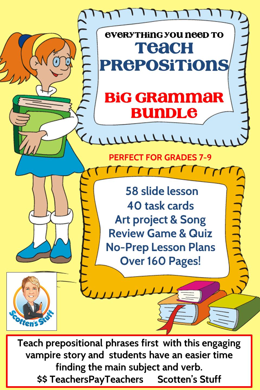 Grammar Lesson 1 Teaching Prepositions Bundle Pinterest