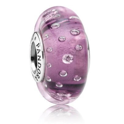 Pandora Black Friday 2015 Silver and Purple Fizzle Murano Glass Charm Bead Clearance Deals PDR781313CZ