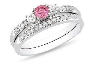 1/2 Carat Pink and White Diamond 14K White Gold Bridal Ring Set $774.99