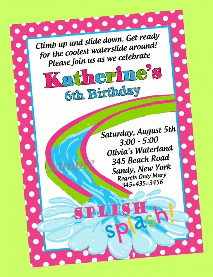 Stylish 6th Pool Themed Birthday Party Invitation Wording With Pink ...