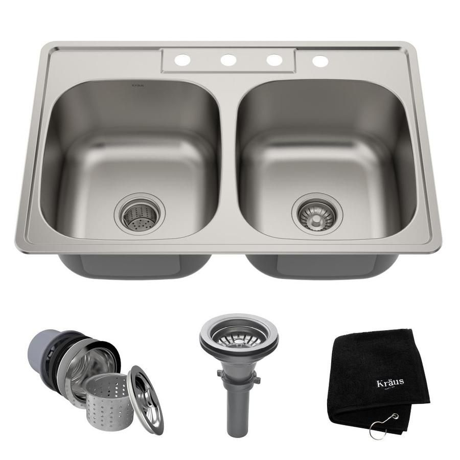 Kraus Premier Kitchen Sink 33 13 In X 22 In Stainless Steel Double Equal Bowl Drop In 4 Hole Residential Kitchen Sink Lowes Com Double Bowl Kitchen Sink Stainless Steel Kitchen Sink Sink
