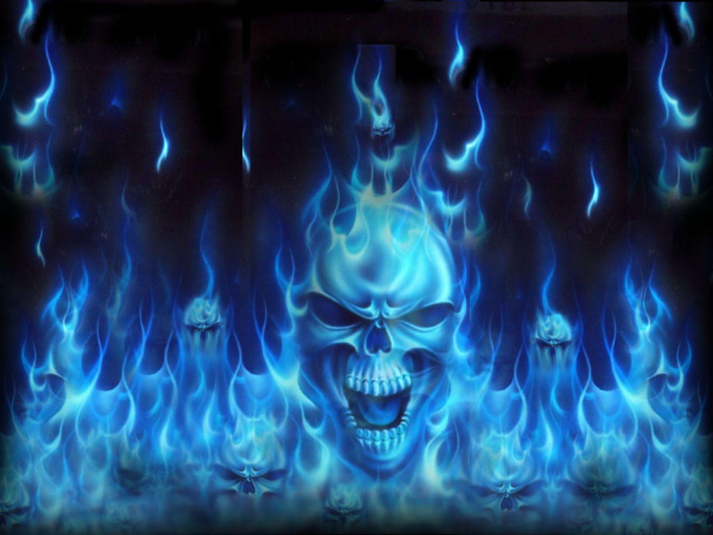 Skull Of Blue Fire Wallpaper Skull Wallpaper Blue Skulls Skull Artwork