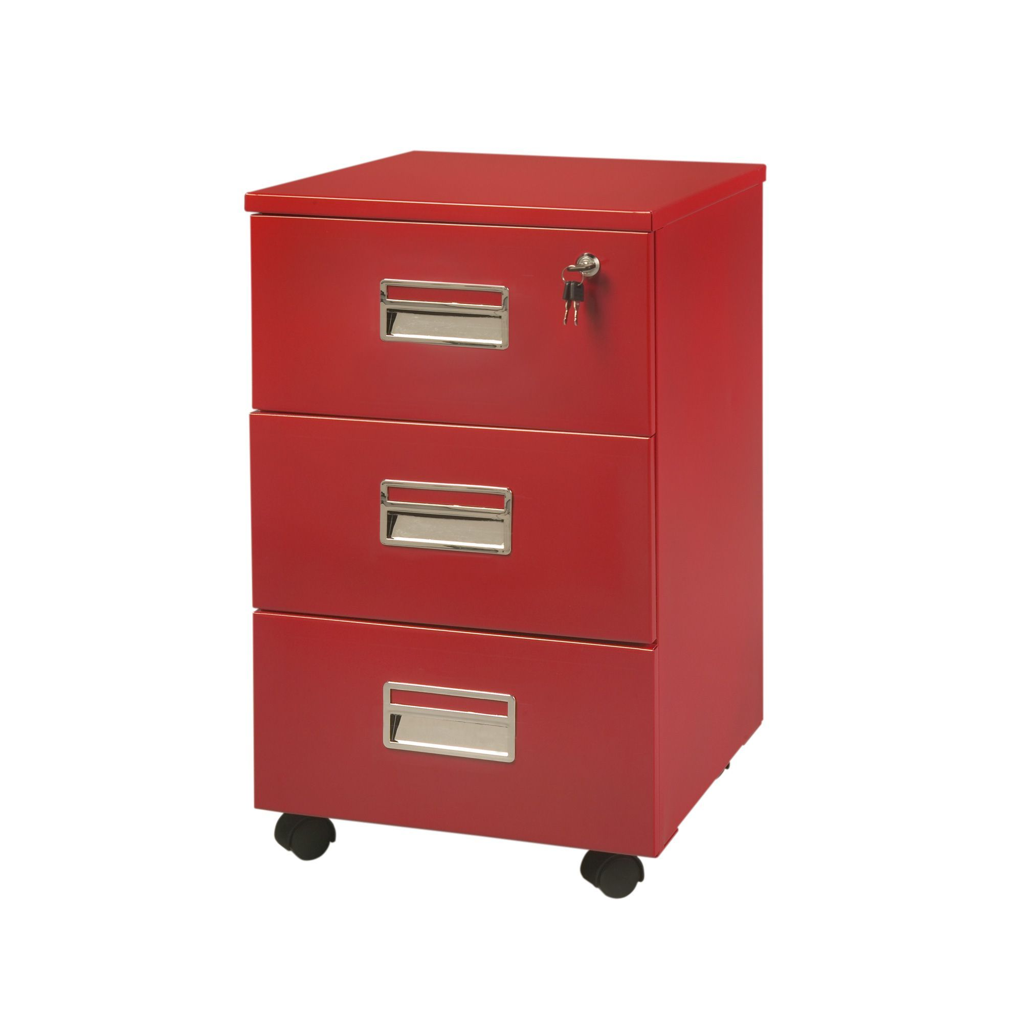 caisson 3 tiroirs sur roulettes rouge max bureau les. Black Bedroom Furniture Sets. Home Design Ideas