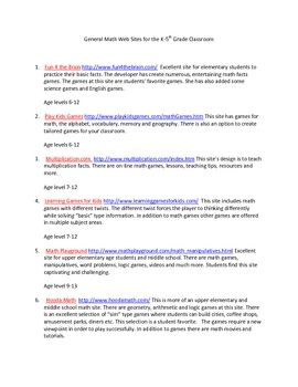 No need to spend hours Googling for the prefect math sites for your students. This document contains math websites that are excellent for the eleme...