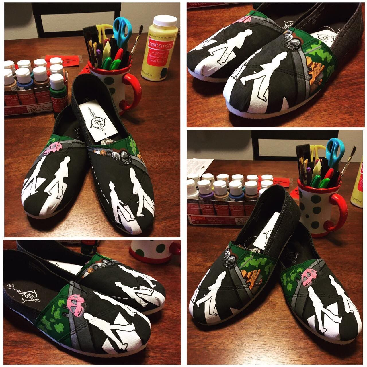 2bd0e5b7ecf28 The Beatles 'Abbey Road' hand painted canvas shoes   My painted ...