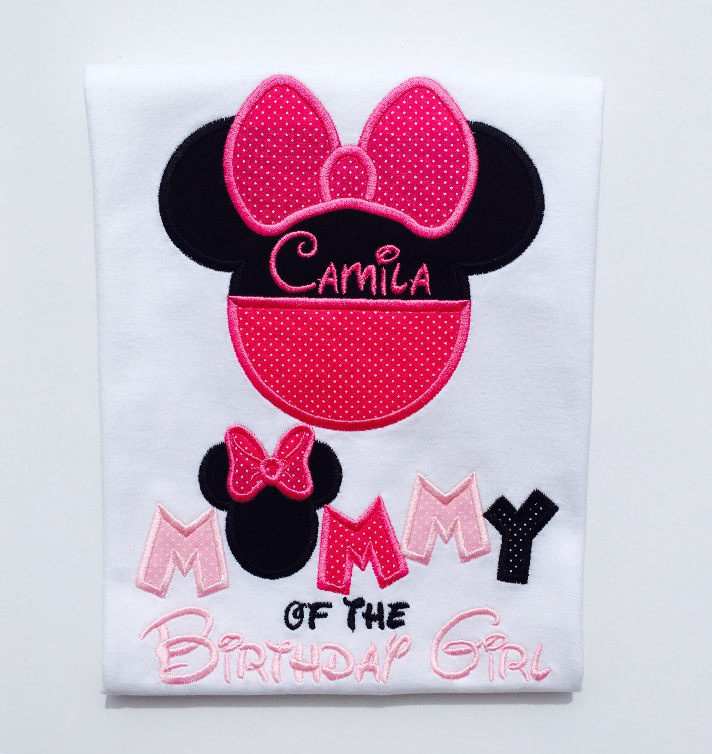 Design your own t-shirt hot pink - Classic Minnie Mommy Of The Birthday Girl Hot Pink Black Lt Pink With Dots Personalized Embroidered Adult T Shirt