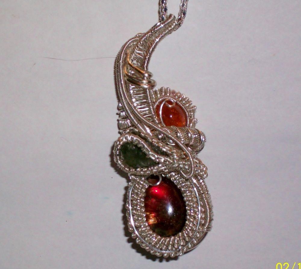 Red Ammolite Spessartine Garnet Apatite Heady Wire Wrap Pendant ...