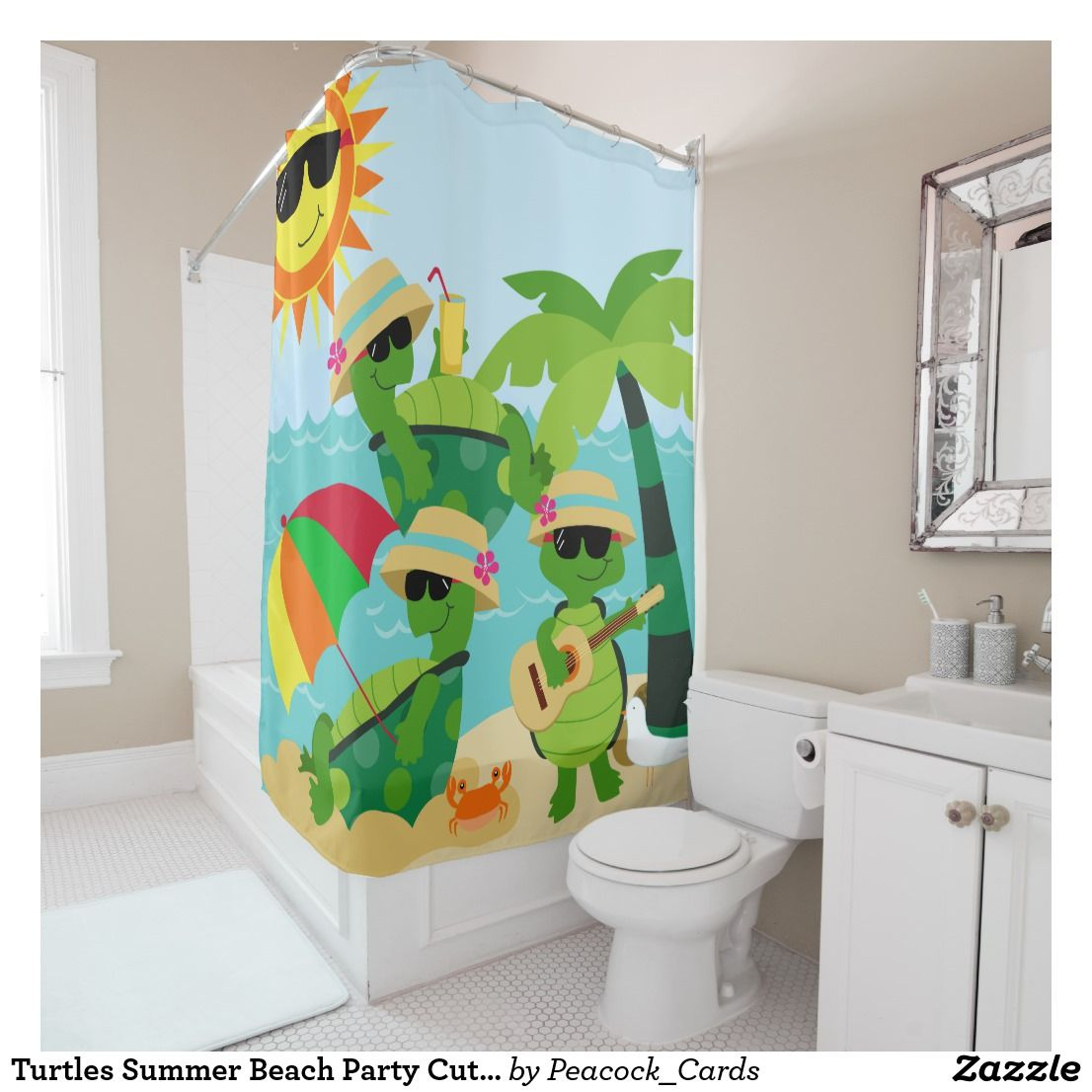 Turtles Summer Beach Party Cute Kids Shower Curtain