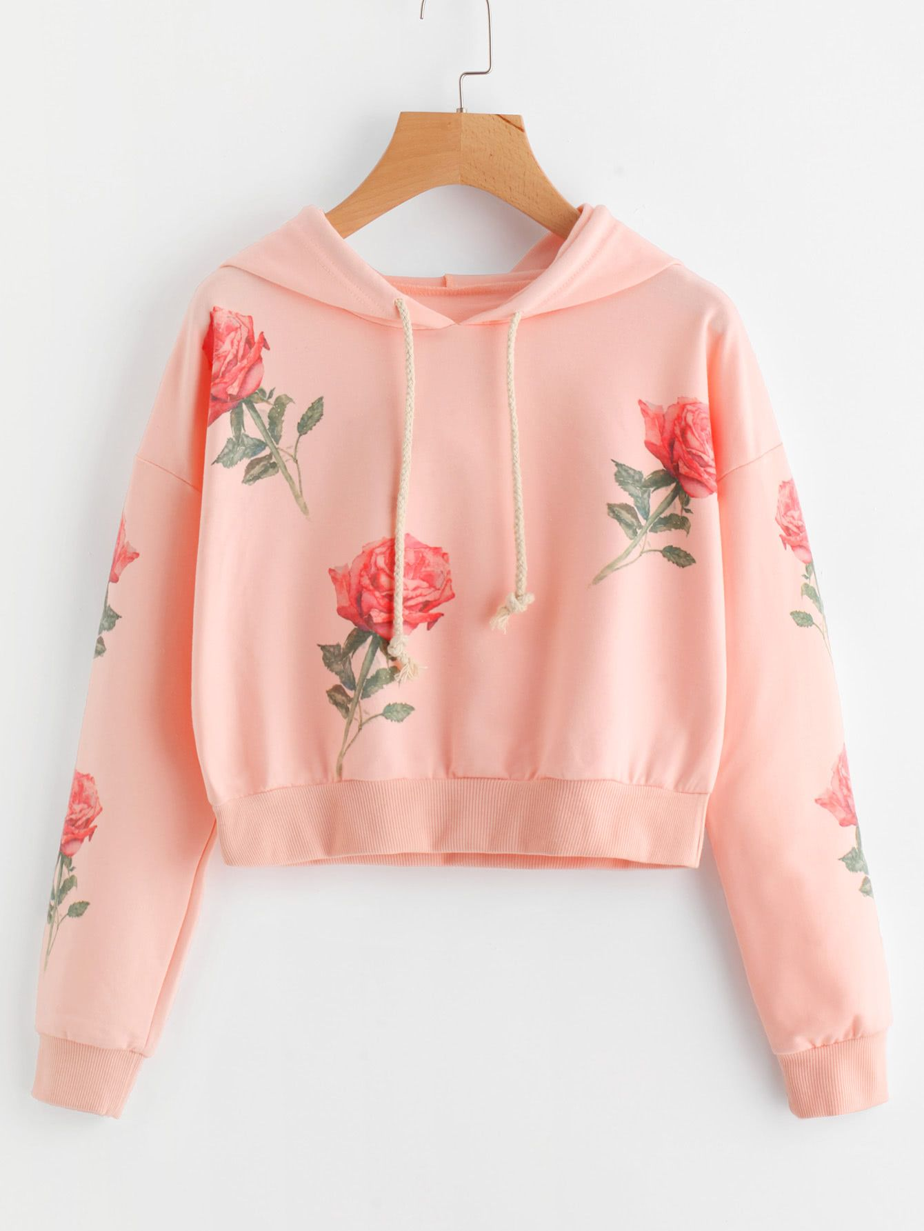 a088229fe8 Shop Rose Print Random Hoodie online. SheIn offers Rose Print Random Hoodie    more to fit your fashionable needs.