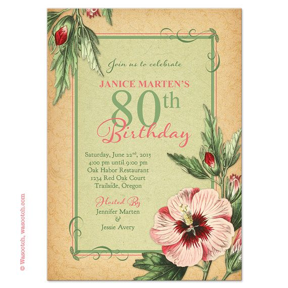 80th Birthday Invitations Vintage Hibiscus Flower Illustration