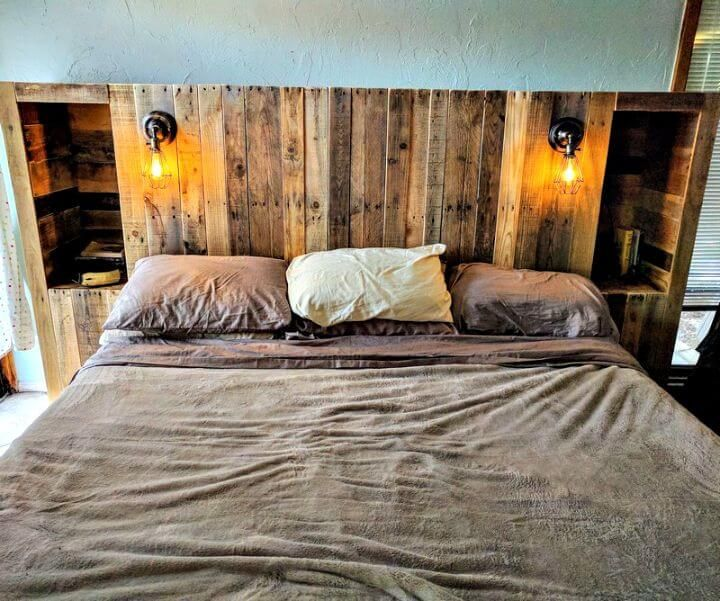Diy Pallet Wood Headboard With Light Lamps And Storage Options