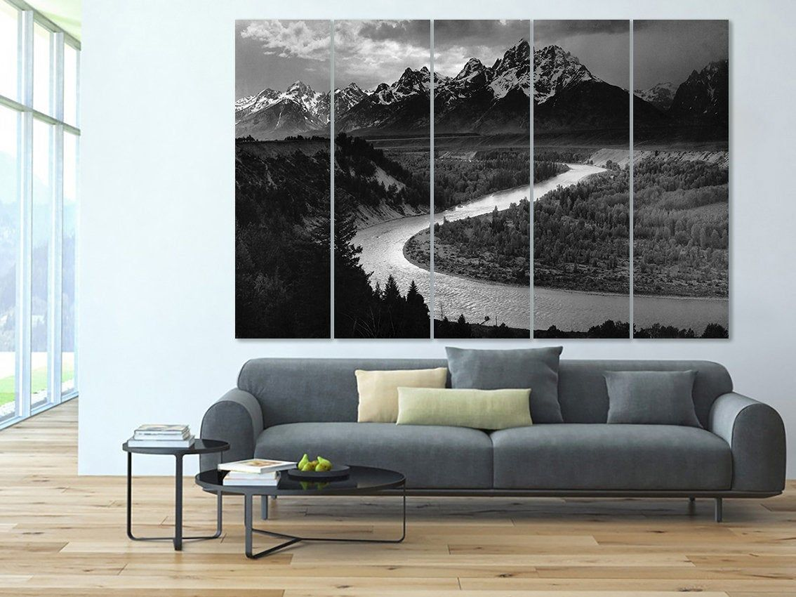 Tetons Snake River Grand Tetons Art Ansel Adams Decor Photography Print Grand Teton Art Photo Decor Ansel Photo Decor Modern Canvas Painting Car Wall Art