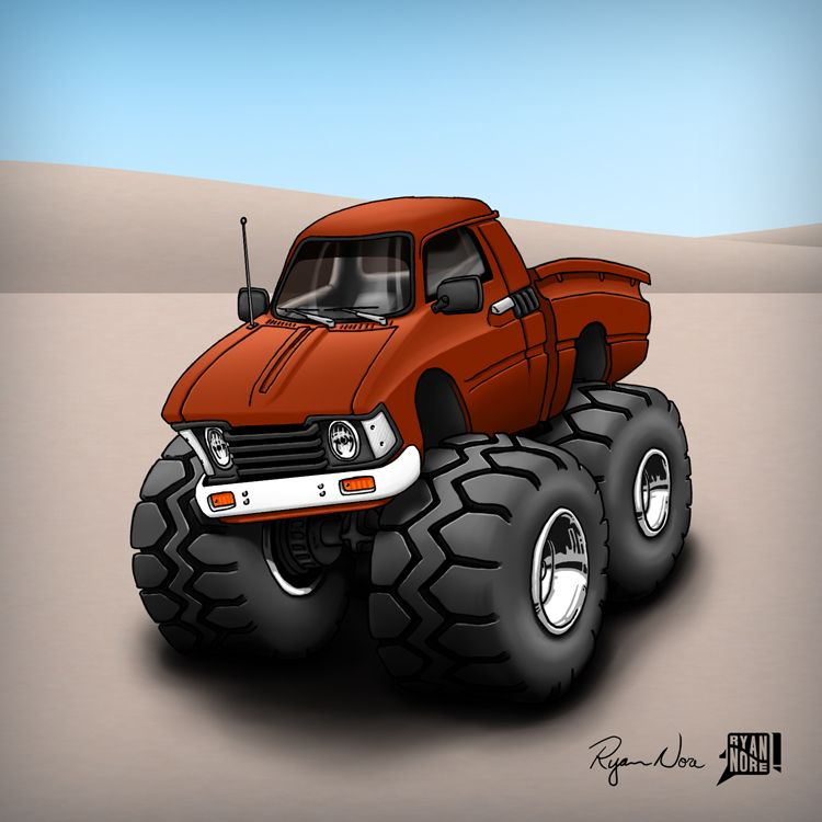 A Cartoon Of A 79 Toyota Hilux Pickup Truck By Ryan Nore