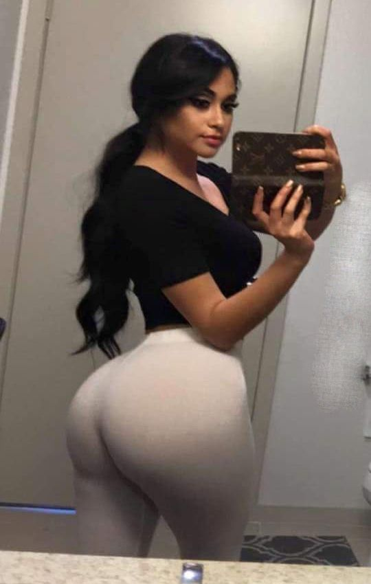 Plus Size Brunette Big Ass In White Trousers