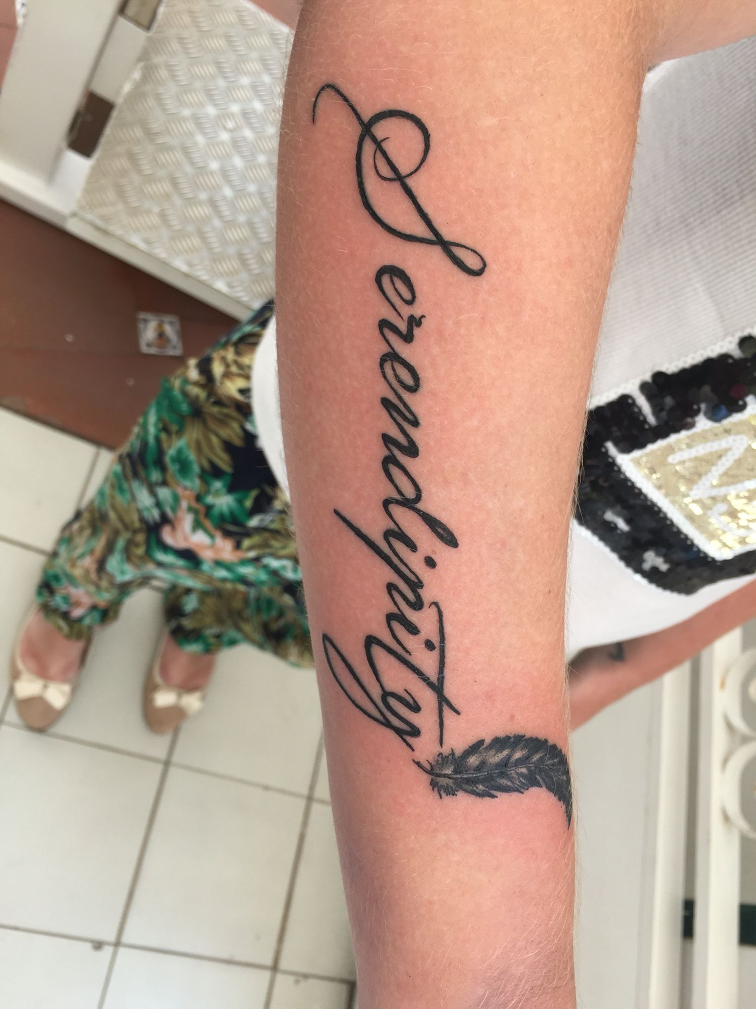 Serendipity 39 tattoo writing for girls female forearm for Tattoo forearm writing