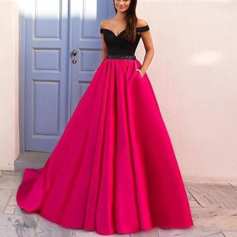 Elegant Off The Shoulder Black And Hot Pink Prom Dresses