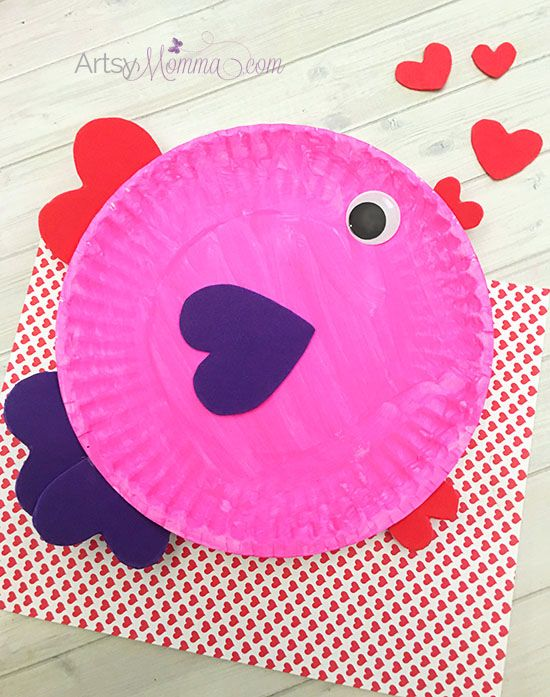 heart paper plate craft paper plate s day fish with shapes fish 4654
