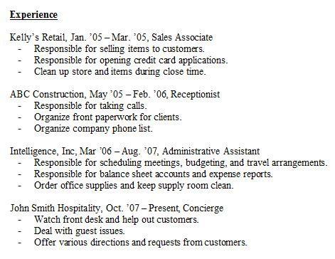 Resume Format Job Experience Pinterest Sample resume, Resume