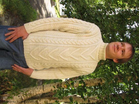 Шерстяной мужской свитер ручной вязки в ирландском стиле - белый,шерсть 100%