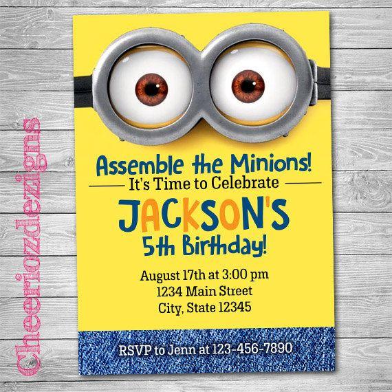 Minions Birthday Invitation Picture Invite Despicable Me Minions