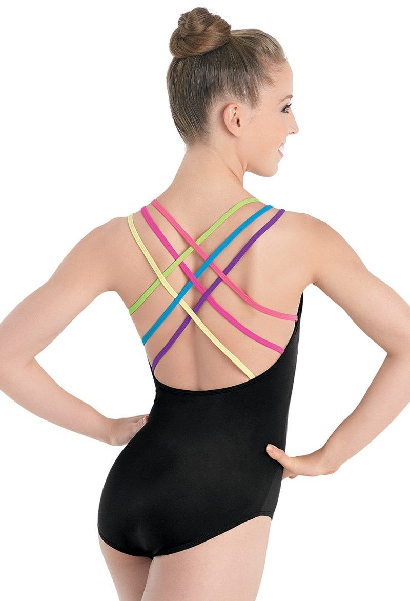 3e77eff060 ... Latest Fashions in Dance. I love rainbows. This leotard is black (super  convenient) with rainbow straps. Need I say more