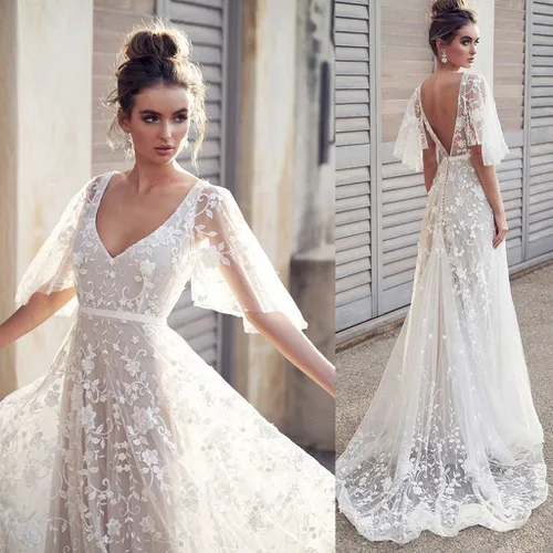 Sexy Womens V-Neck Lace Vintage Gown Party Dress Bridesmaid dress